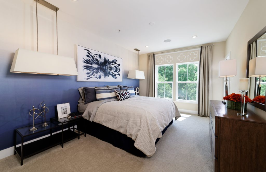 master bedroom - ombre wallpaper - condo living - dc interiors
