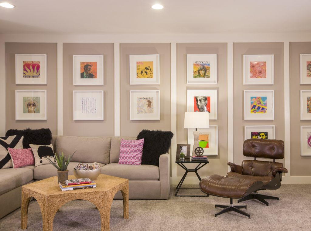 gallery wall - interior design - contemporary design - rec room design - wall treatment
