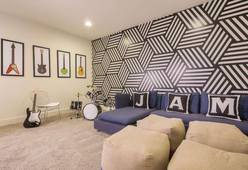 fun wallpaper - kids space - jam room - rocknroll design - lower level - rec room design